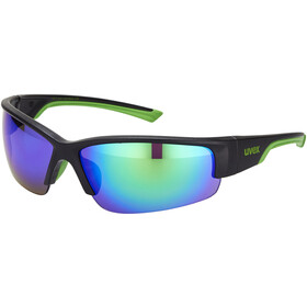 UVEX Sportstyle 215 Glasses, black mat green/green